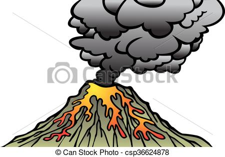 450x313 Active Volcano Isolated On The White Background Vectors