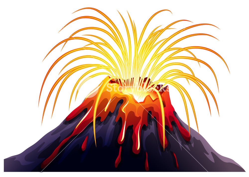 1000x712 Volcano Eruption With Hot Lava Illustration Royalty Free Stock