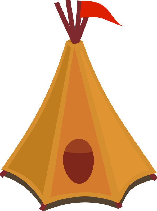 593x800 Free Clipart Cartoon Tipi Tent With Red Flag Qubodup