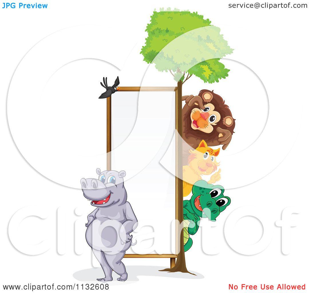 1080x1024 Cartoon Of Wild Animals Around A Vertical Sign 1