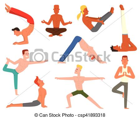 450x379 Yoga Man Vector Set. Fitness Group Yoga Man Doing Cobra Pose