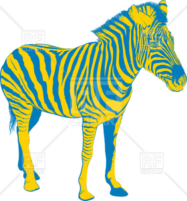 374x400 Yellow Blue Zebra Royalty Free Vector Clip Art Image