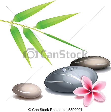 450x455 Zen Theme Over White. Zen Theme With Bamboo And Colored Vector