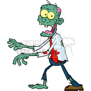 300x300 Royalty Free 5080 Blue Cartoon Zombie Walking With Hands In Front