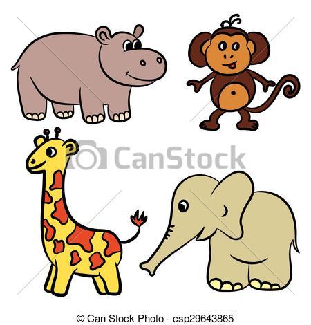 450x470 Cute Zoo Animals Collection. Vector Illustration. Clip Art Vector