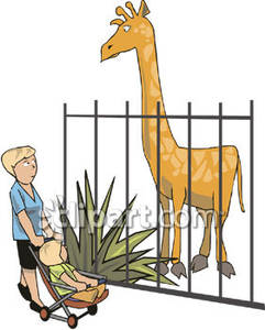 241x300 A Woman And Her Baby Looking At A Zoo Giraffe
