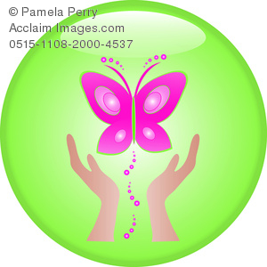 300x300 Clip Art Image Of A Pair Of Hands Setting Free A Pink Butterfly