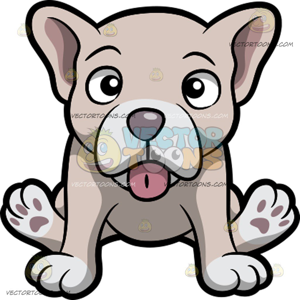 1024x1024 A Pale But Cute Young French Bulldog Puppy Cartoon Clipart