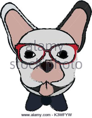300x385 Isolated Hipster French Bulldog Design Stock Vector Art