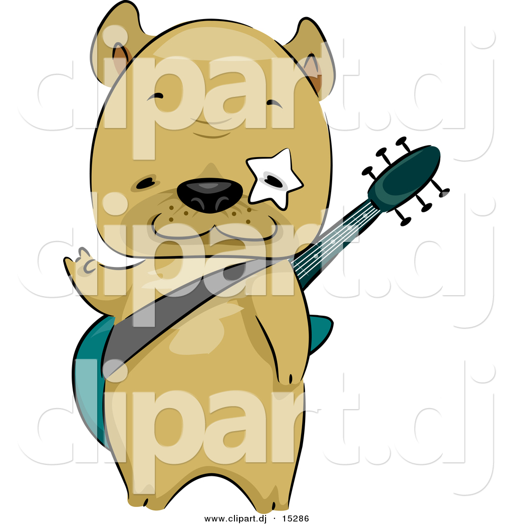 1024x1044 Vector Clipart Of A Cartoon French Bulldog Carrying A Guitar By