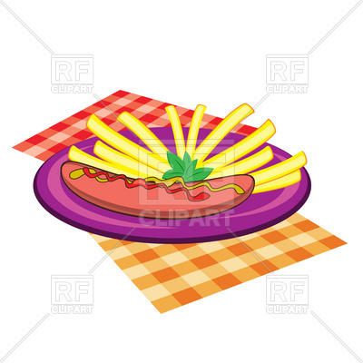 400x400 French Fries And Sausage On Plate With Napkins Royalty Free Vector