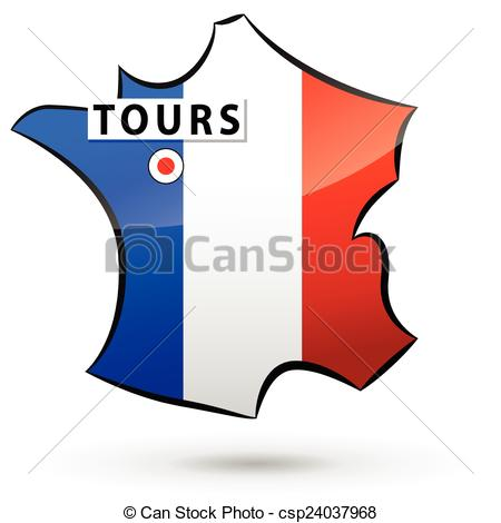 450x470 French Icon. Illustration Of French Map Icon For Tours Clip Art