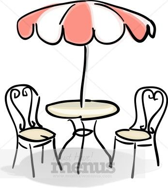 347x388 Clip Art French Al Fresco Cafe Table With Red And White Umbrella