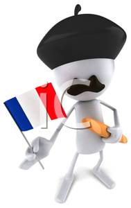 189x300 Clip Art Image A Frenchman Holding The French Flag And A Loaf