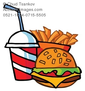 281x300 Clipart Image Of A Cheeseburger With A Soft Drink And French Fries