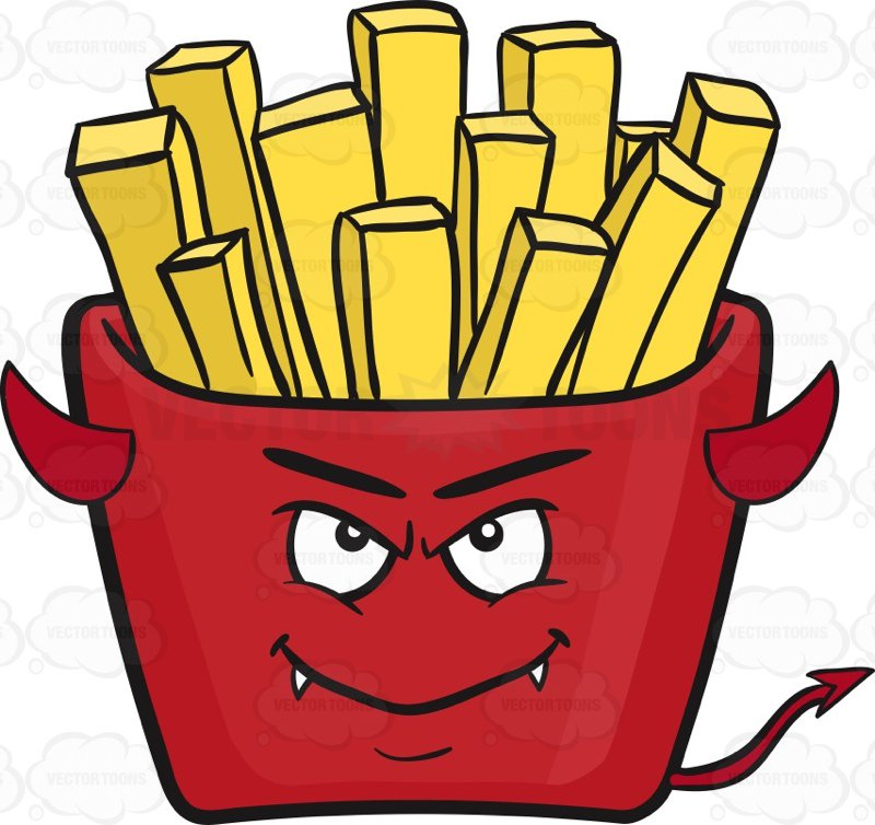 800x754 Devil Red Pack Of French Fries Emoji Cartoon Clipart Vector Toons