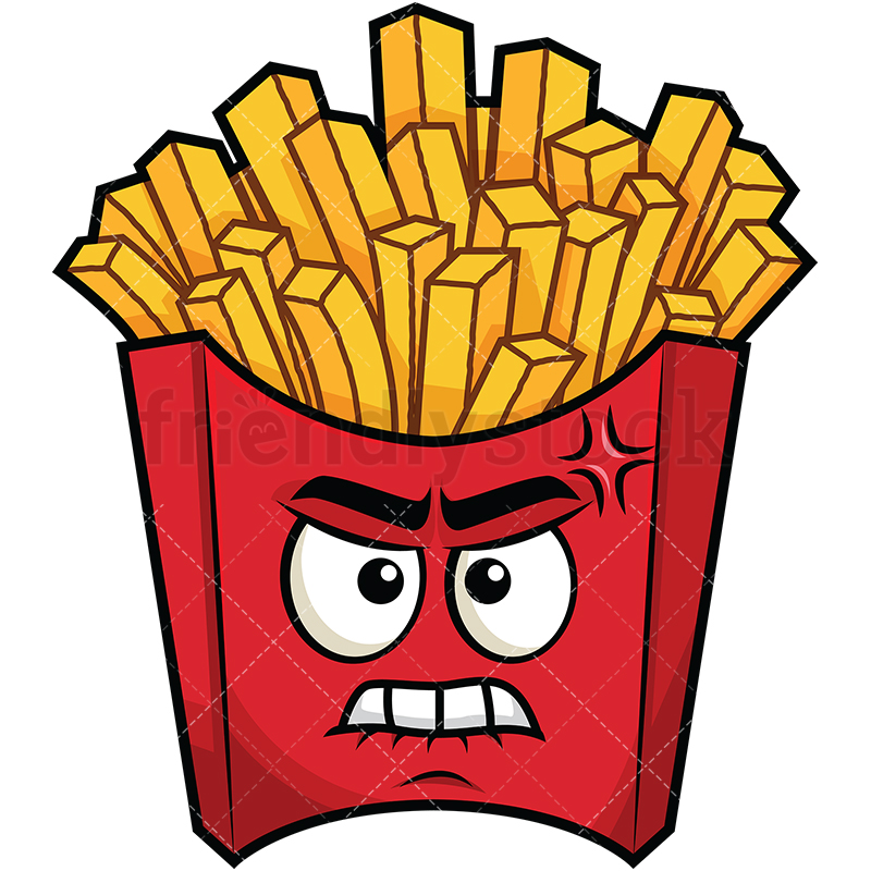 800x800 Angry French Fries Emoji Cartoon Vector Clipart