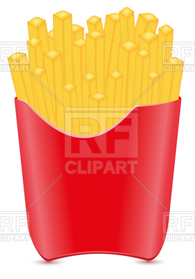 280x400 French Fries Potato In Red Pack Royalty Free Vector Clip Art Image