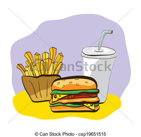 450x439 Illustration Of French Fry, Burger And Drink. Clip Art, Vector