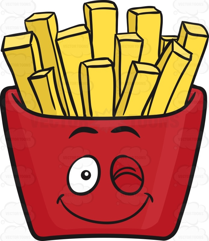 695x800 Wink Amp Smile Jolly Red Pack Of French Fries Emoji Cartoon Clipart