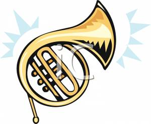 300x246 Royalty Free Clipart Image A Brass French Horn
