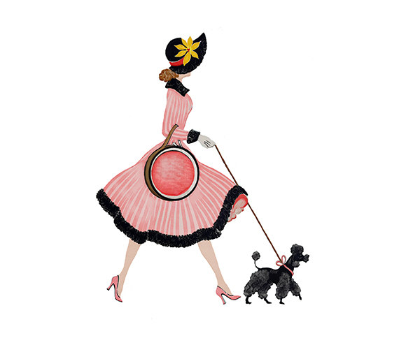 570x494 Lady In Pink Dress With Poodle