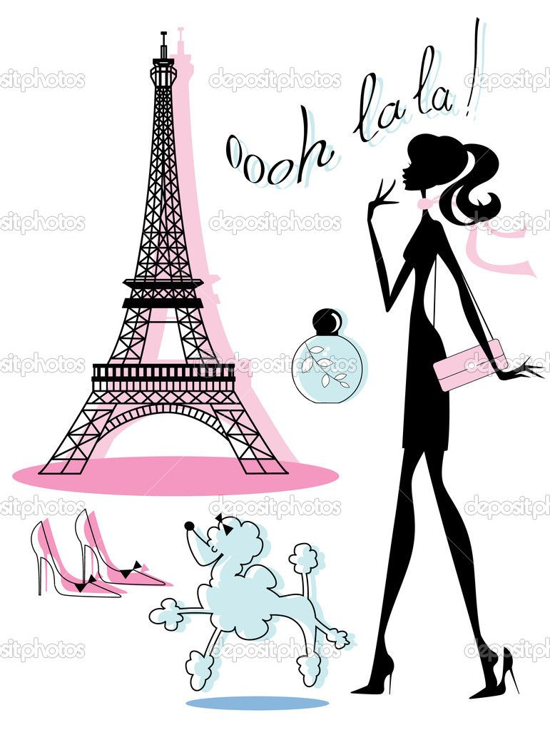 771x1023 Women Shopping With Poodle Illustration