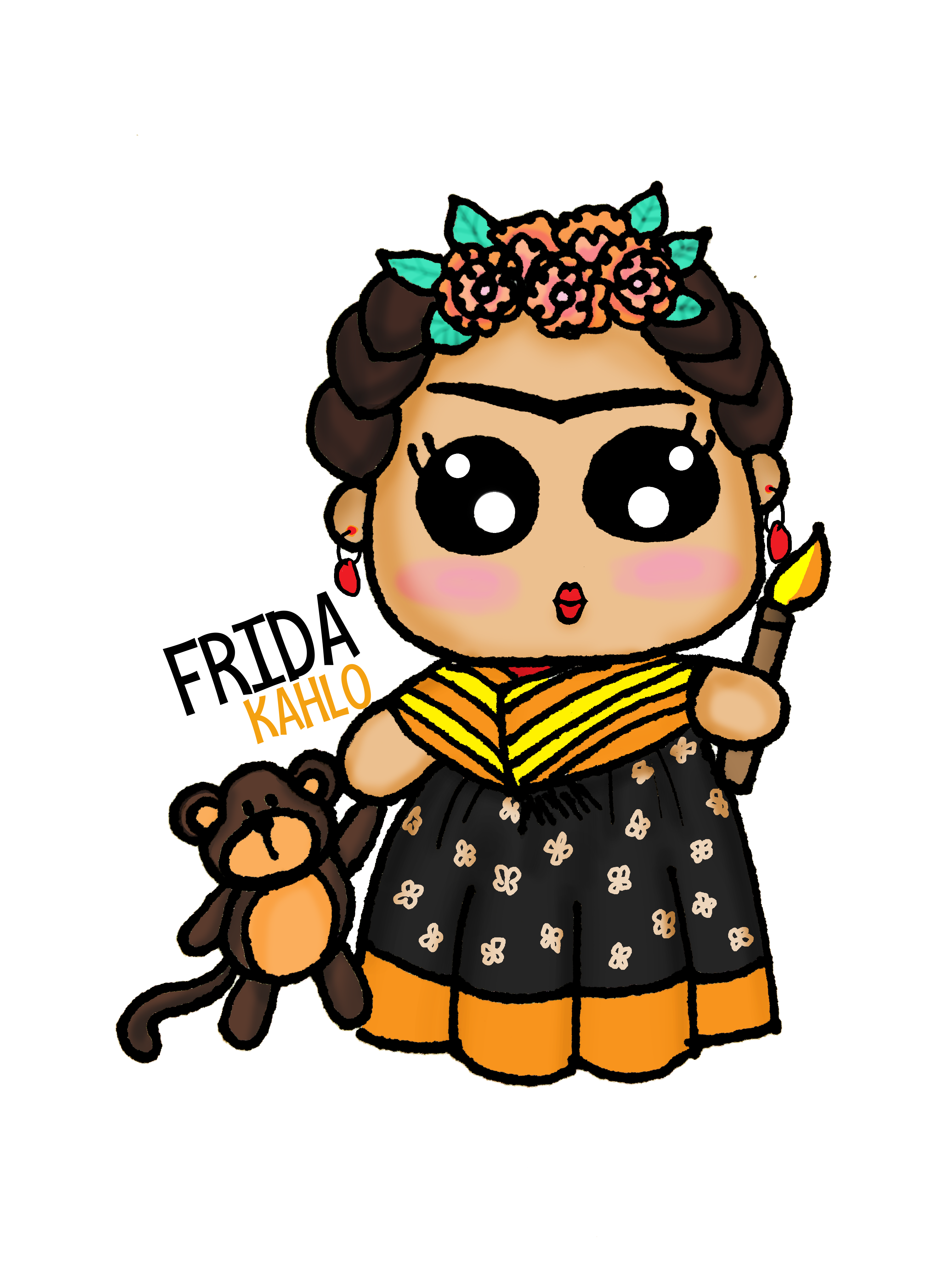 3024x4032 Frida Kahlo Kawaii Draw Frida Frida Kahlo, Kawaii