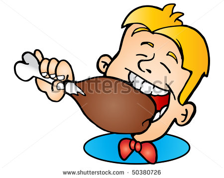 450x358 Boy Eating Chicken Wings Clipart