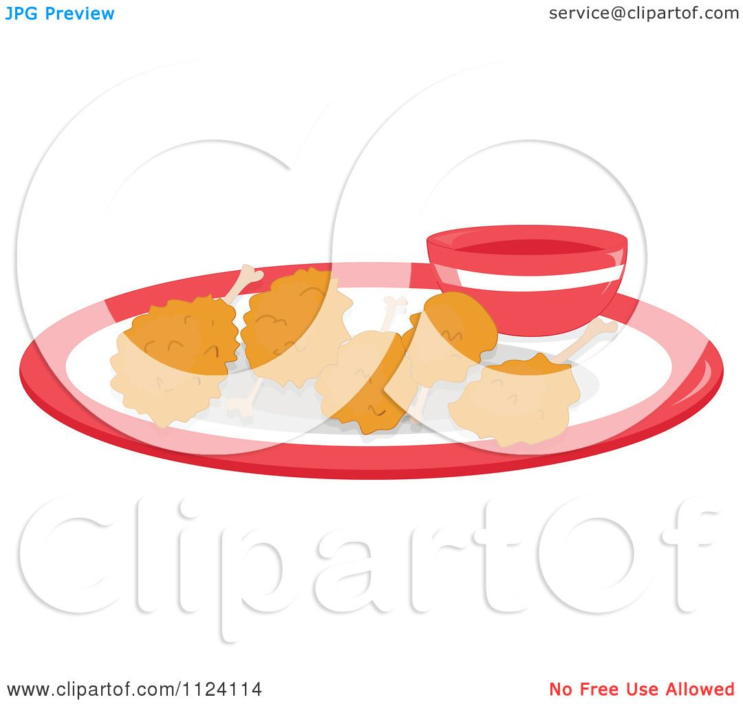 1080x1024 Cartoon Of Fried Chicken On A Plate