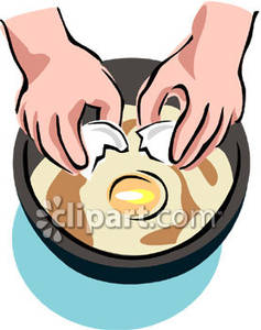 237x300 A Person Cracking Eggs Into A Frying Pan Royalty Free Clipart Picture