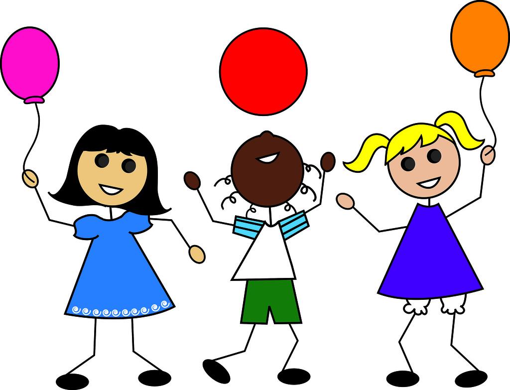 1024x783 Clip Art Illustration Of Cartoon Kids With Balloons