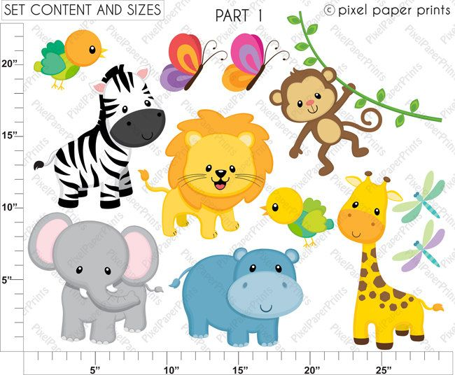 650x536 Jungle Friends Animals Clip Art And Digital Por Pixelpaperprints