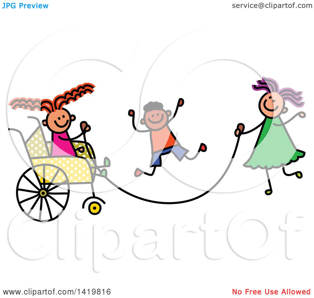 1080x1024 Clipart Of A Doodled Disabled Girl In A Wheelchair, Playing Jump