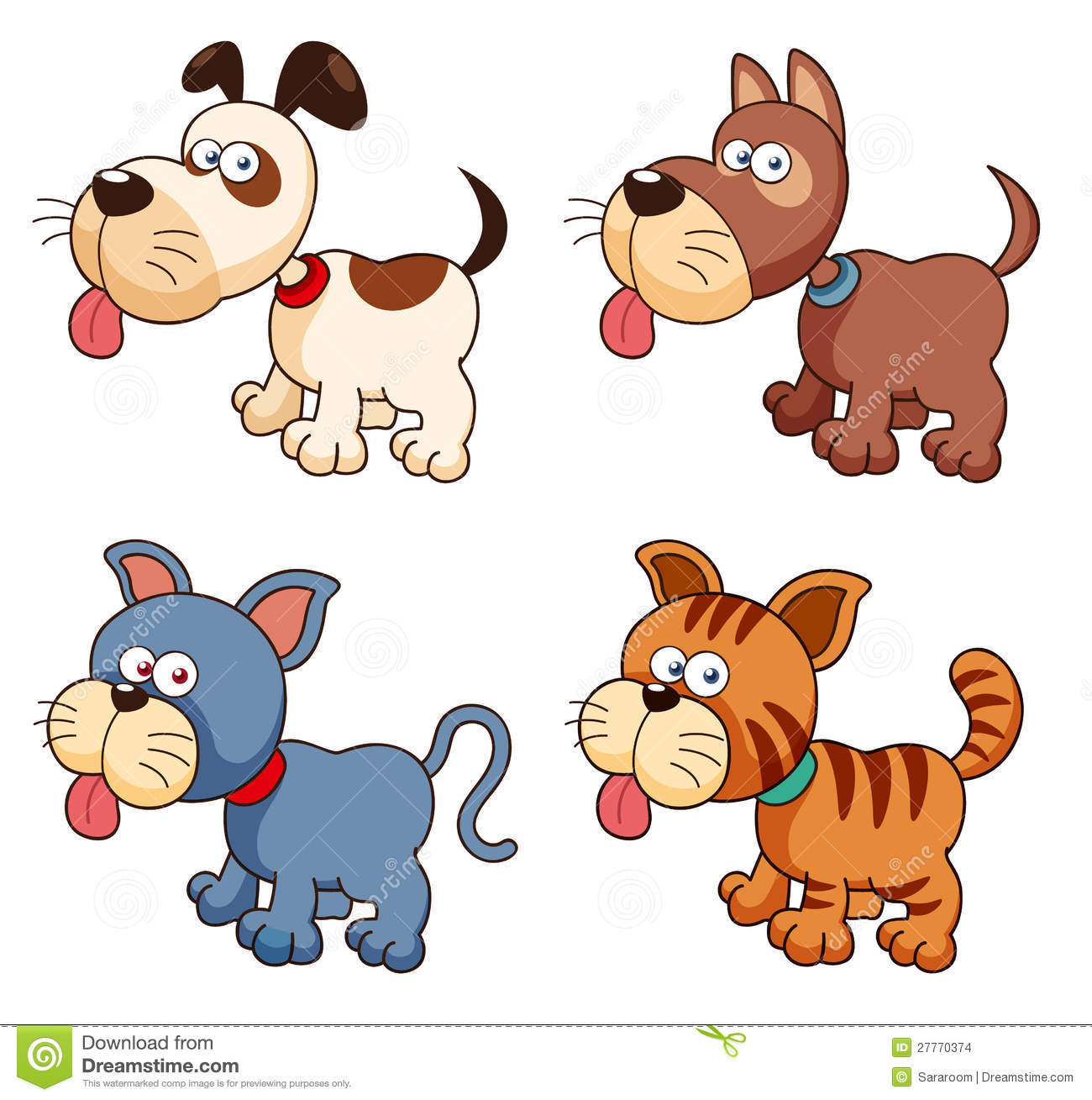 1300x1309 Clipart Of Dogs And Cats Together Illustration Group In Friendship