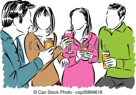 450x315 Friends Together And Drinks Illustration Vector Clip Art