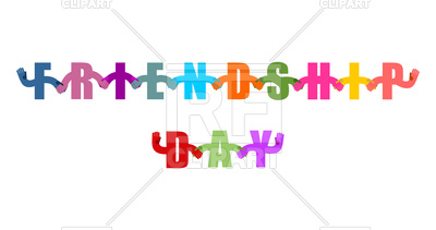 400x211 Friendship Day. International Holiday Sign. Letters Holding Hands