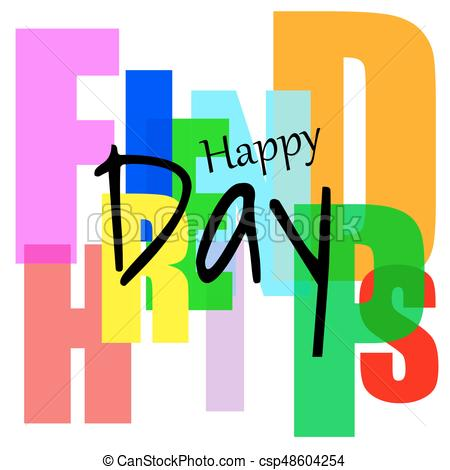 450x470 Happy Friendship Day, Stylized Holiday Card With The Clipart