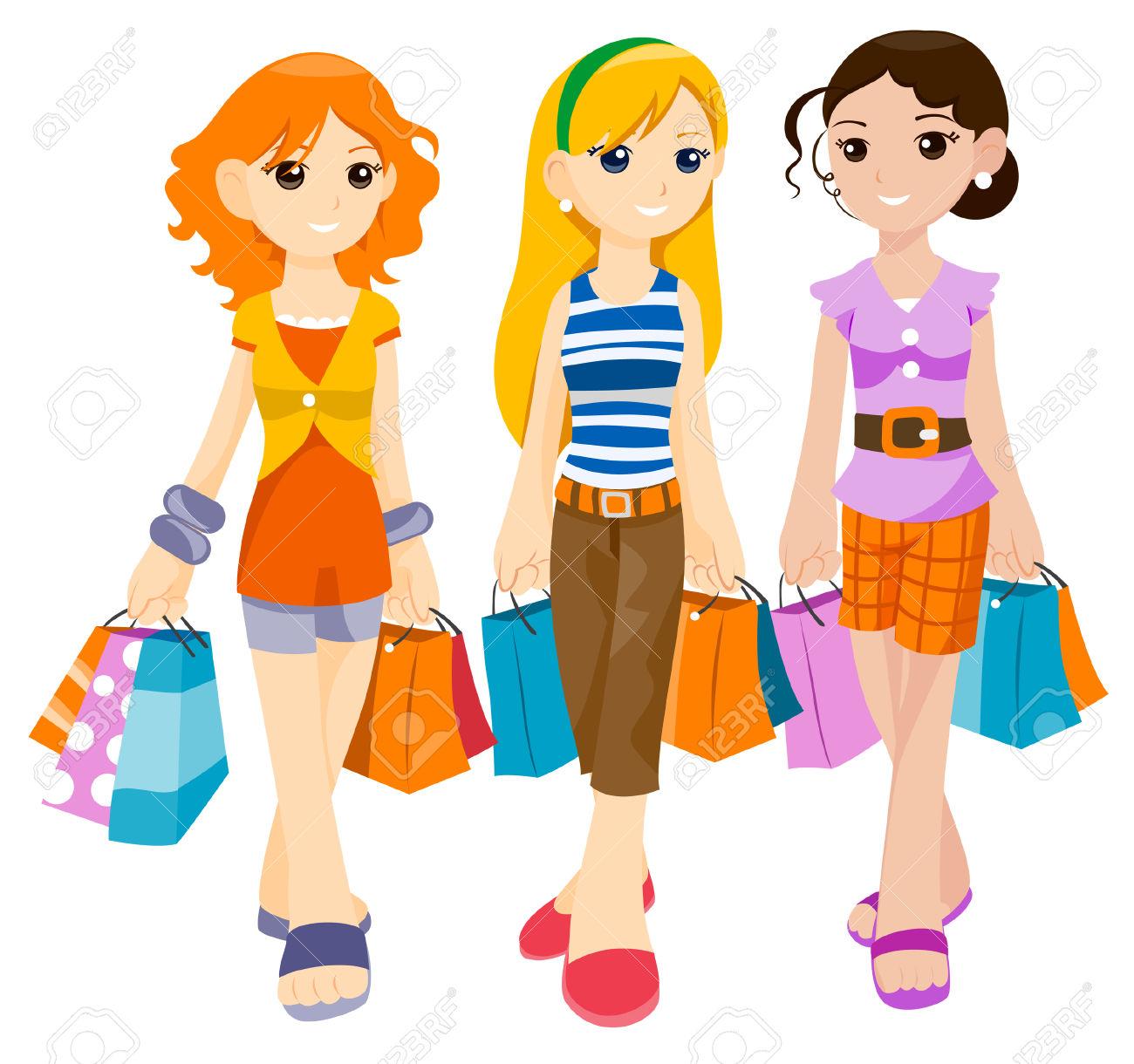 1300x1220 Friends Shopping Clipart