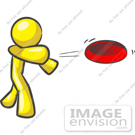 450x450 Clip Art Graphic Of A Yellow Guy Character Throwing A Frisbee
