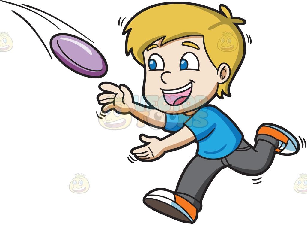 1024x749 A Boy Runs To Catch A Flying Frisbee Cartoon Clipart Vector Toons