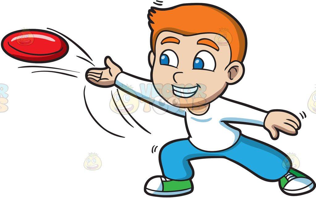 1024x642 A Boy Throwing A Frisbee Cartoon Clipart Vector Toons