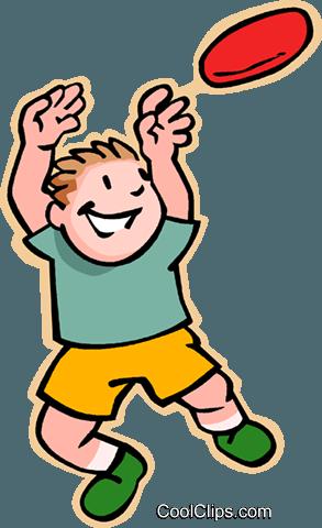 293x480 Boy Catching Frisbee Royalty Free Vector Clip Art Illustration