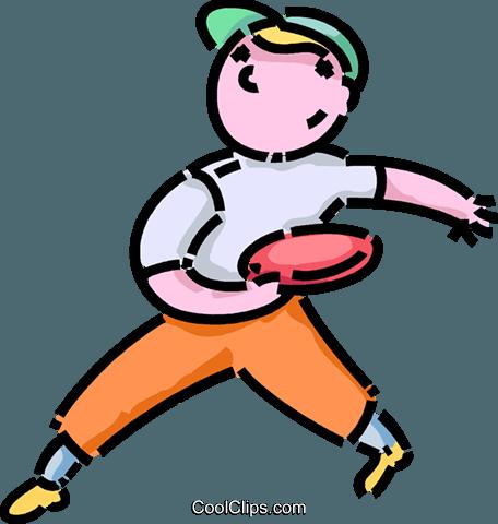 456x480 Boy Playing Frisbee Royalty Free Vector Clip Art Illustration