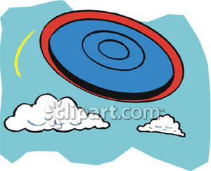 300x244 A Frisbee Flying Through The Air Royalty Free Clipart Picture