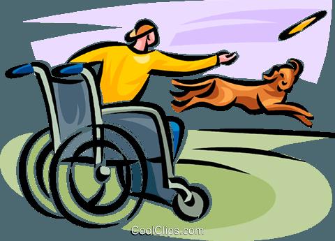 480x345 Man In A Wheelchair Throwing A Frisbee Royalty Free Vector Clip