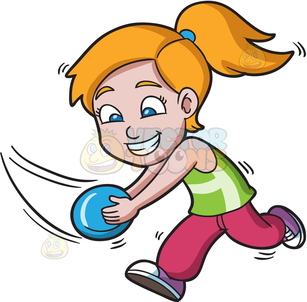 1024x1007 A Girl Running To Catch A Flying Disc Cartoon Clipart Vector Toons