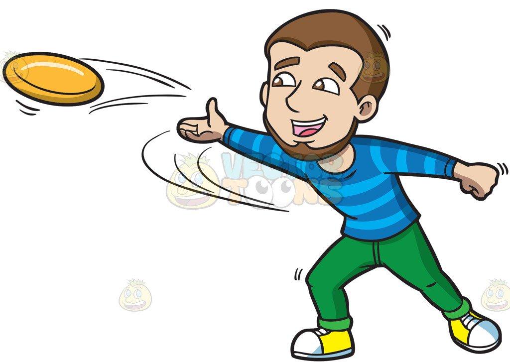 1024x727 A Happy Man Throwing A Frisbee Cartoon Clipart Vector Toons