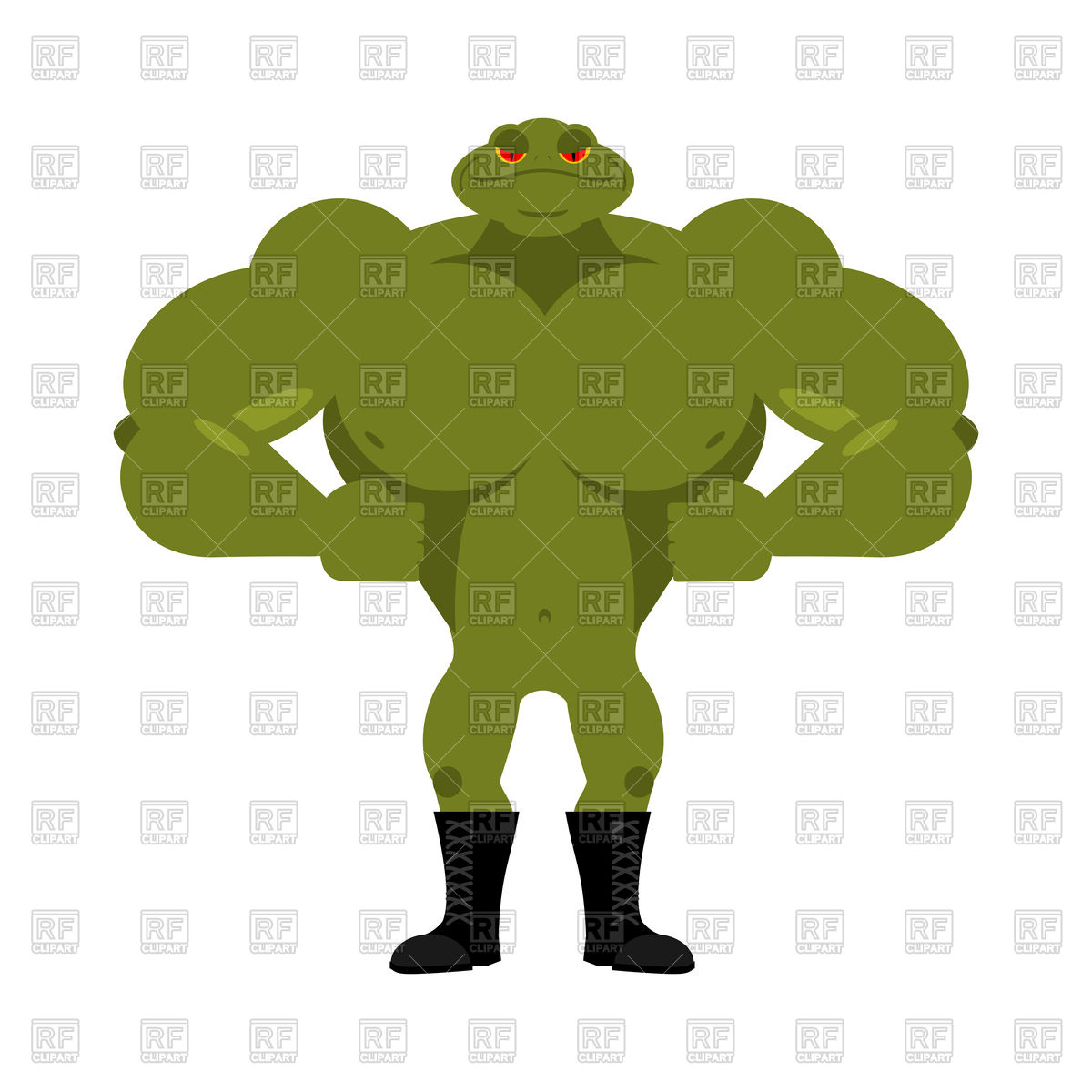 1200x1200 Strong Frog. Powerful Toad With Large Muscles. Royalty Free Vector