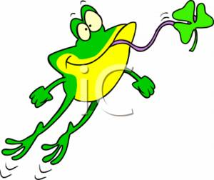 300x252 Cartoon Clipart Picture Of A Wacky Frog Catching A Clover